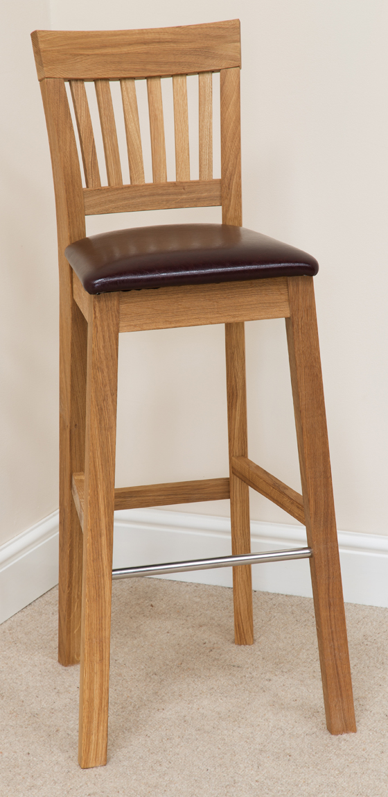 Bar Stool 123, Solid Oak, Beige Fabric - bar stools, bar stool, wooden stools, wooden bar stools, breakfast bar stools, kitchen bar stools