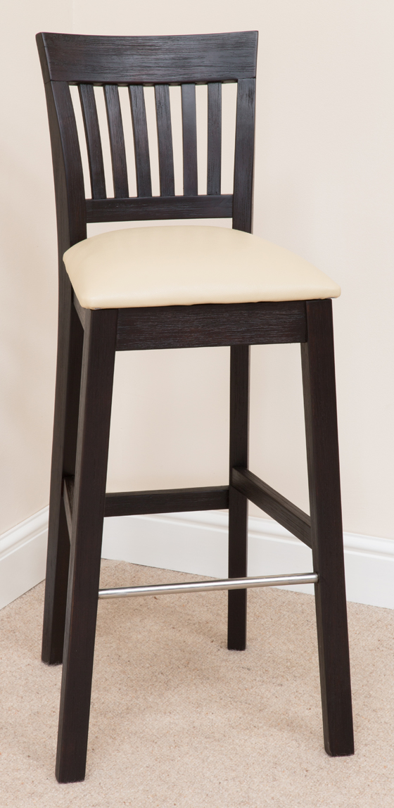 Bar Stool 340, Solid Oak, Beige Fabric - bar stools, bar stool, wooden stools, wooden bar stools, breakfast bar stools, kitchen bar stools